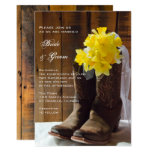 Yellow Daffodils and Cowboy Boots Country Wedding 13 Cm X 18 Cm Invitation Card