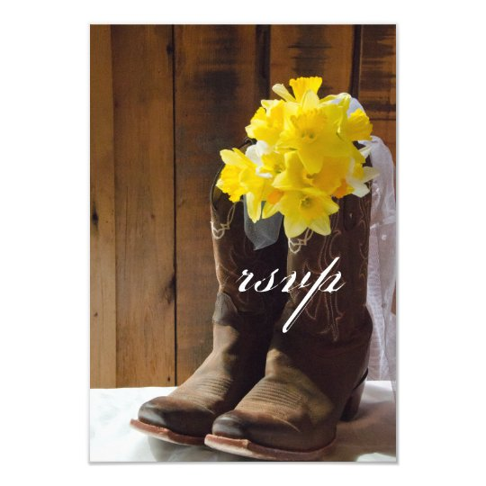 Yellow Daffodils Cowboy Boots Country Wedding RSVP Card