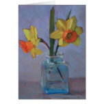 Yellow Daffodils in Glass Vase Stationery Note Card