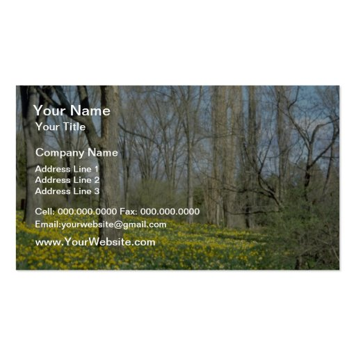 yellow Daffodils on hillside flowers Pack Of Standard Business Cards