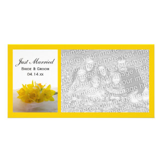 Yellow Daffodils on White Just Married Picture Card