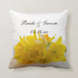Yellow Daffodils on White Spring Wedding Cushion