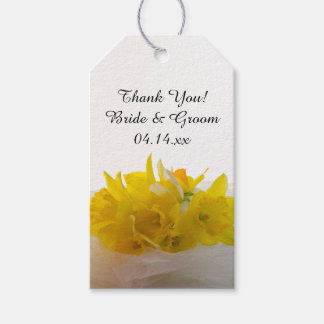 Yellow Daffodils on White Spring Wedding Favor Tag