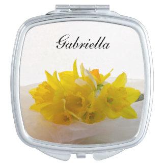 Yellow Daffodils on White Spring Wedding Travel Mirror