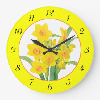 Yellow Daffodils on Yellow Floral Wall Clock