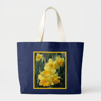 Yellow Daffodils with Border Large Tote Bag
