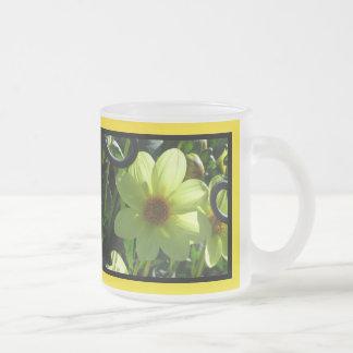 Yellow Dahlia Flower Frosted Glass Mug