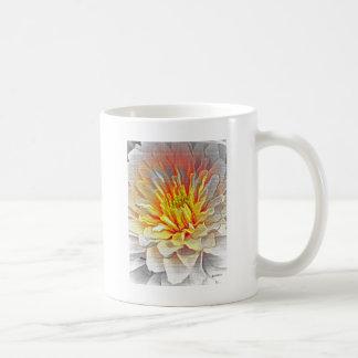 Yellow Dahlia Flower Pencil Sketch Basic White Mug