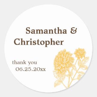 Yellow dahlia flower wedding favor tag seal label round sticker