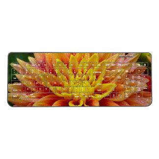 Yellow dahlia flower wireless keyboard
