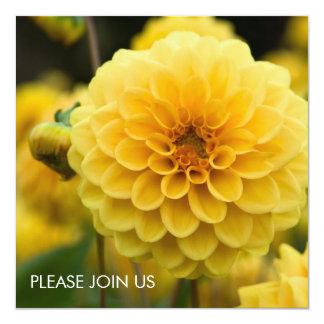 """Yellow Dahlia 5.25"""" Square Invitation Card"""