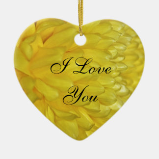 Yellow Dahlia petals Ceramic Heart Decoration