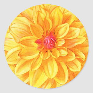 Yellow Dahlia watercolor Classic Round Sticker