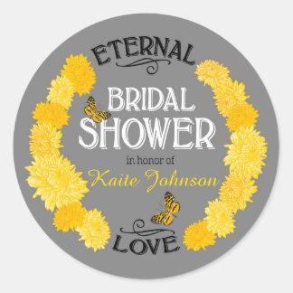 Yellow Dahlia Wreath Modern Bridal Shower Label Round Sticker