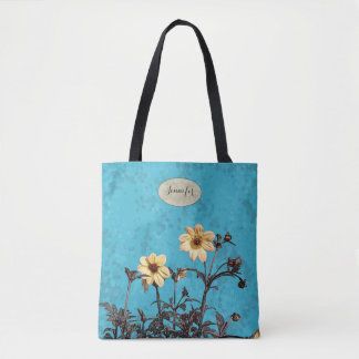 Yellow Dahlias Monogrammed All Over Print Tote Bag
