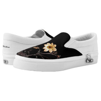 Yellow Dahlias Monogrammed Black Printed Shoes