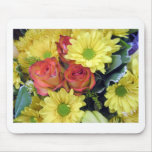 Yellow Daisies and Red Roses Mouse Mats