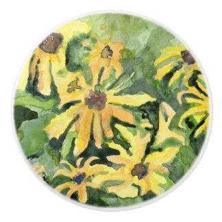 Yellow Daisies Ceramic Drawer Pull