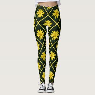 Yellow Daisies design pattern leggings