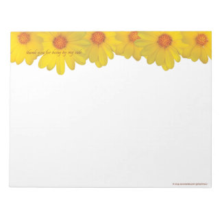 Yellow Daisies, thank you - LARGE Notepad