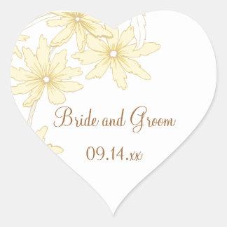 Yellow Daisies Wedding Heart Shaped Envelope Seals Heart Sticker