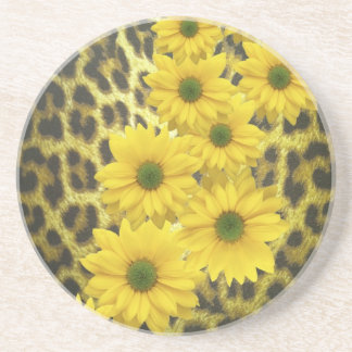 YELLOW DAISIES WITH LEOPARD PRINT COASTER