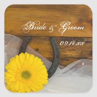 Yellow Daisy and Horseshoe Country Western Wedding Square Sticker