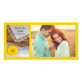 Yellow Daisy and Lace Country Wedding Thank You Personalized Photo Card
