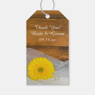 Yellow Daisy and Pearls Country Wedding Favor Tags