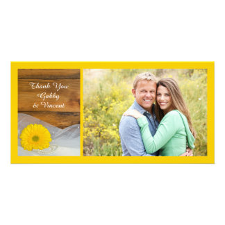 Yellow Daisy and Veil Country Wedding Thank You Picture Card