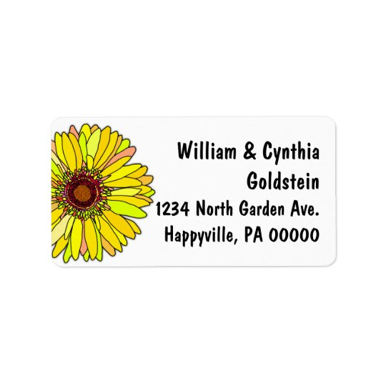 Yellow Daisy Artistic Custom Address Labels