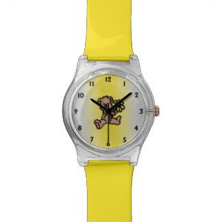 Yellow Daisy Bear Design Watch