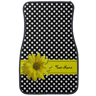 Yellow Daisy Black and White Polka Dots Floor Mat