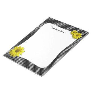 Yellow Daisy Black and White Polka Dots Notepad
