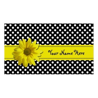 Yellow Daisy Black and White Polka Dots Pack Of Standard Business Cards