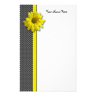 Yellow Daisy Black and White Polka Dots Stationery