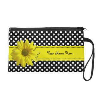 Yellow Daisy Black and White Polka Dots Wristlet Clutches