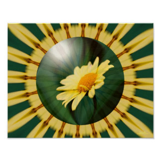 Yellow Daisy Energies Floral Abstract Print