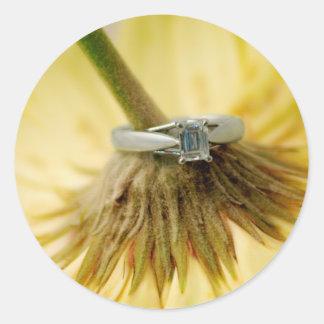 Yellow Daisy Engagement Round Sticker
