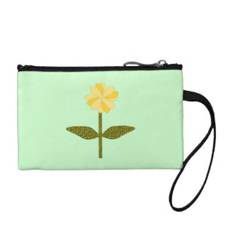 Yellow Daisy Flower Bagettes Bag Change Purse