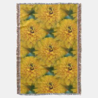 Yellow Daisy Flower Nature Art Pattern Throw Blanket