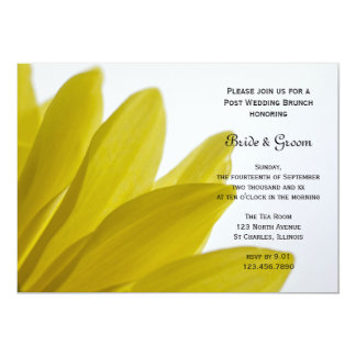 Yellow Daisy Flower Petals Post Wedding Brunch Card