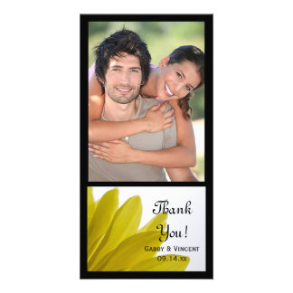 Yellow Daisy Flower Petals Wedding Thank You Personalized Photo Card