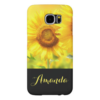 Yellow Daisy Flowers Black Typography Samsung Galaxy S6 Cases