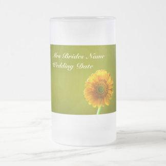 Yellow Daisy Gerbra Flower Brides Wedding Glass Mug