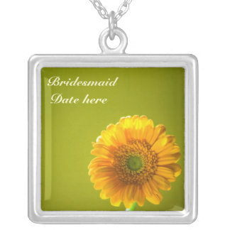 Yellow Daisy Gerbra Flower Bridesmaids Silver Plated Necklace