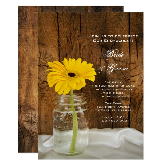 Yellow Daisy in Mason Jar Country Engagement Party Card
