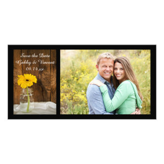 Yellow Daisy in Mason Jar Wedding Save the Date Photo Cards