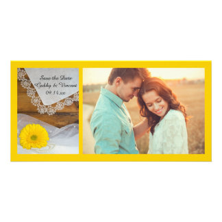 Yellow Daisy Lace Country Wedding Save the Date Personalized Photo Card