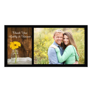 Yellow Daisy Mason Jar Country Wedding Thank You Picture Card